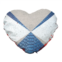 Snake blue and sand Cuscino cuore con paillettes