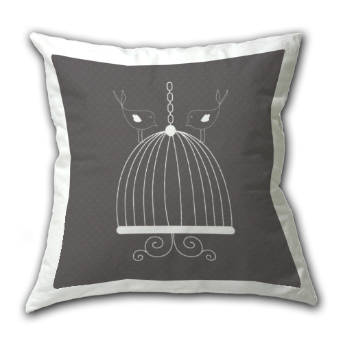 cuscino con uccellini e gabbietta