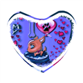 I Love Dog Blu Foto su Cuscino a Cuore