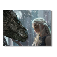 Daenerys with Dragon  Poster carta lucida