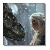 Daenerys with Dragon  Foto su Tela