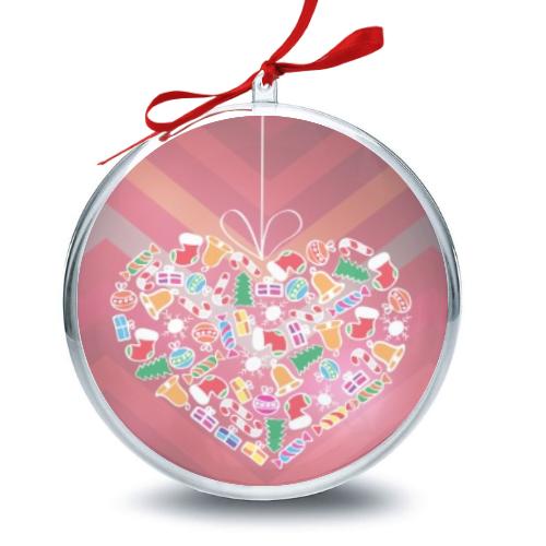 Palla di Natale con grafica cuore