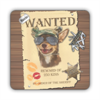 Wanted Rambo Dog Stickers quadrato