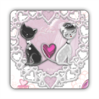 Sweet Love with Dog Stickers quadrato