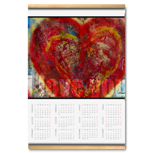 I love you Calendario su arazzo A3