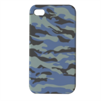 Blue camouflage  Cover iPhone4 4s stampa 3D