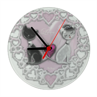 Weddings Cats Orologio vetro tondo con foto
