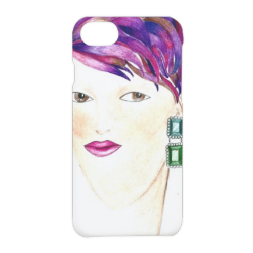 Capelli viola Cover iPhone 7 3D