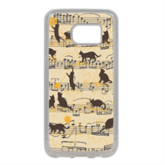 gattini e note musicali Cover in silicone Samsung S7 Edge