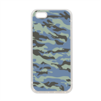 Blue camouflage  Cover in silicone iPhone 5-5S