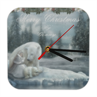 Merry Christams Orologio in legno con bordi arrotondati