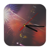 Happy New Year Orologio in legno con bordi arrotondati