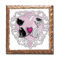 Weddings Cats Stampe su legno Antico